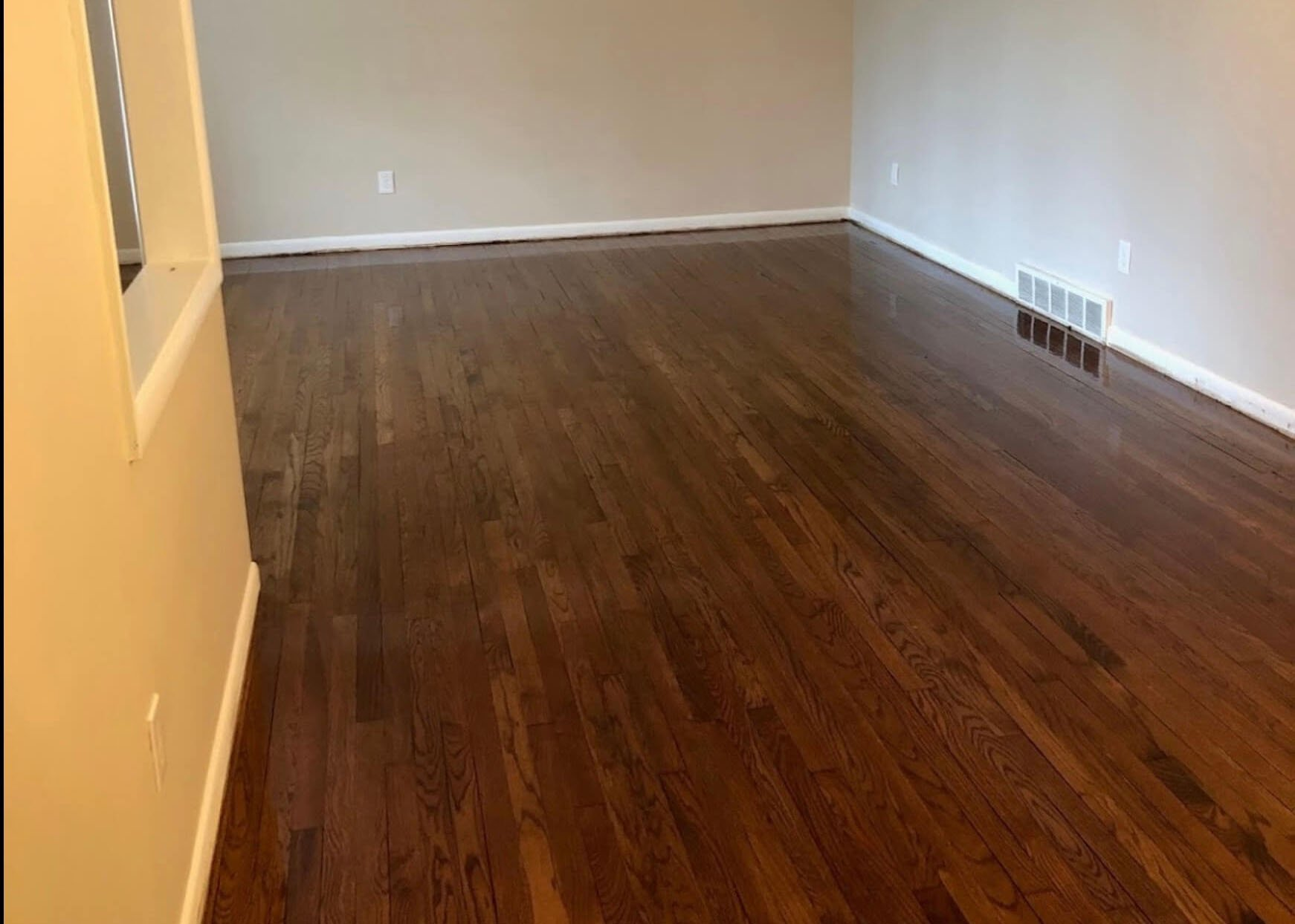 a beautiful refinished wood floor