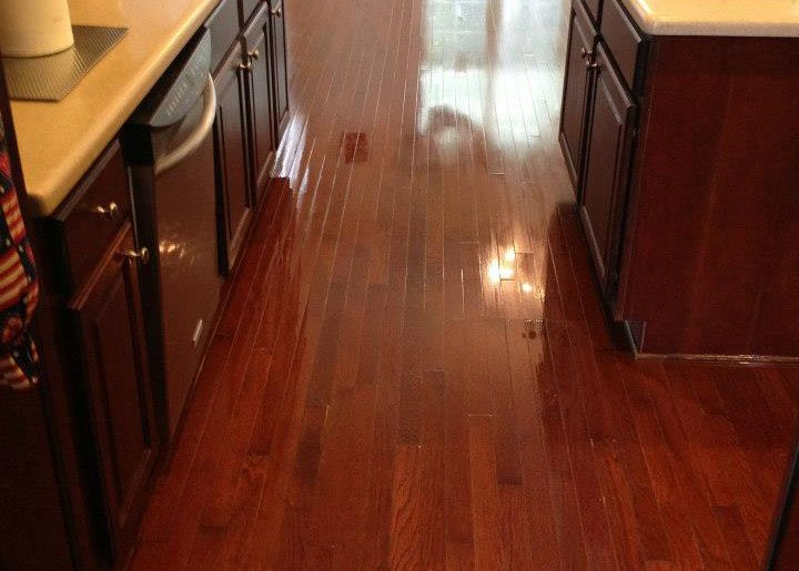A shining wood floor that was just refinished and repaired.